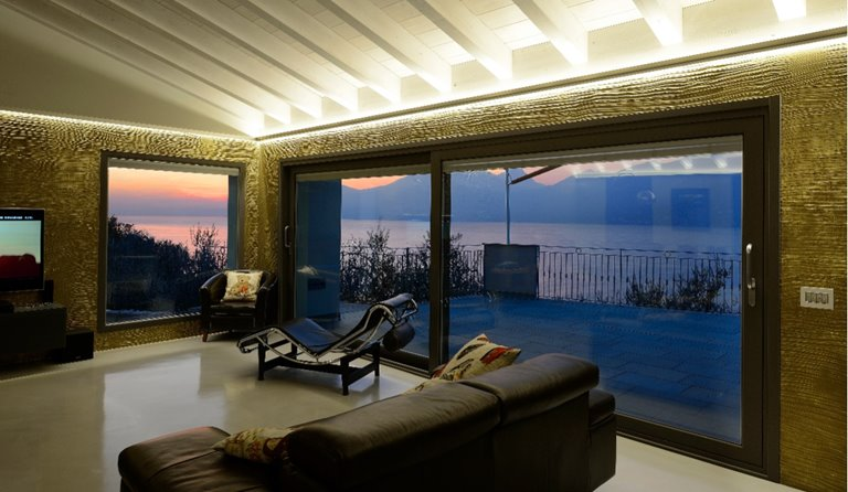 Luminia sliding door sunset view from outside
