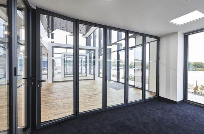 Aluminium bifold door in a showroom
