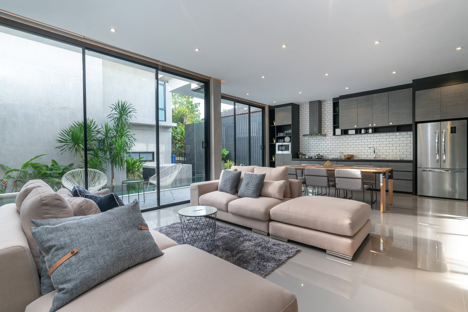 living room view with large sliding door