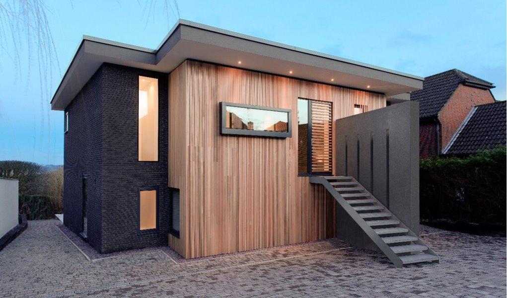 Aluminium door and windows in modern house