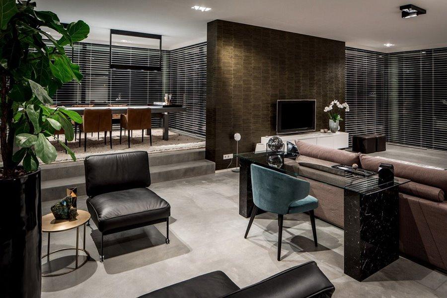 Hedendaagse woonkamer met aluminium ramen