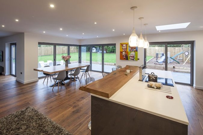 view from dining room of sliding doors