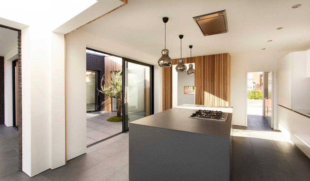 Large sliding doors in modern kitchen