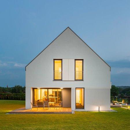 Lights on modern villa with aluminium windows