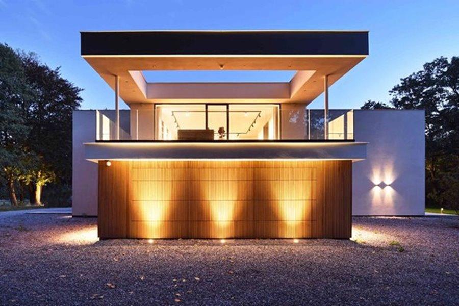 zijkant gevel moderne villa