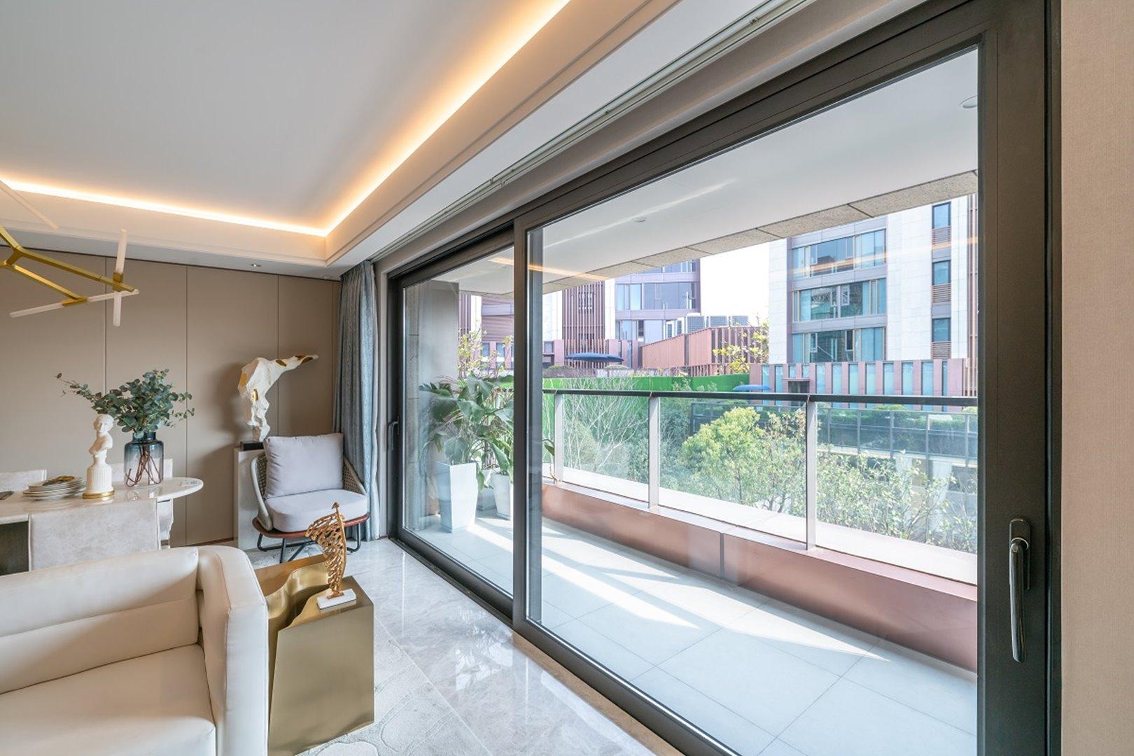 living room view with sliding door