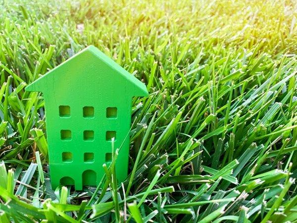 Groen huisje in grasveld